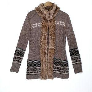 Cynthia Rowley Faux Fur Lined Cardigan